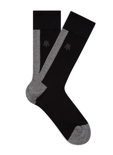 Mavi Blok Renkli  Soket Çorap Siyah